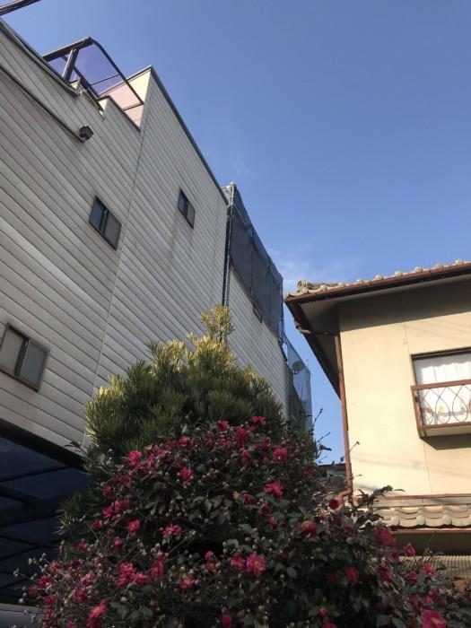 大阪市東住吉区にて4F住宅の足場工事