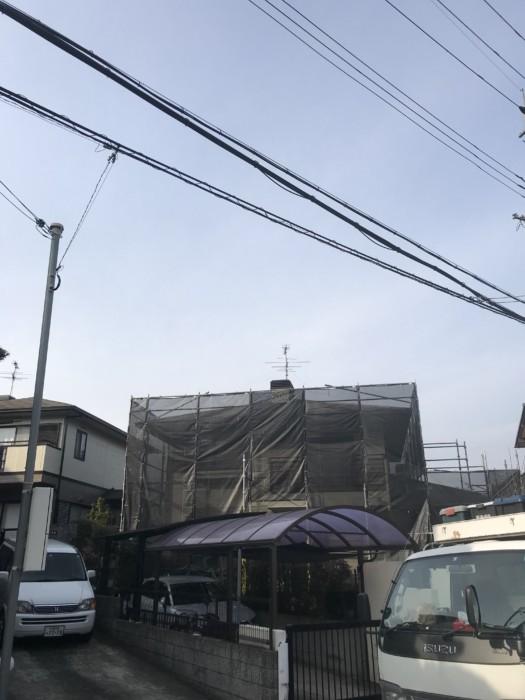 奈良県にて足場架設